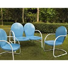 crosley griffith blue 3 piece metal patio conversation set