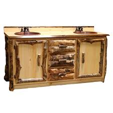 Aspen Log Furniture Aspen Double Vanity with Copper Sinks and