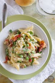 one pan pasta with bacon and peas