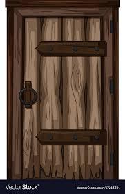old wooden door on white background vector image