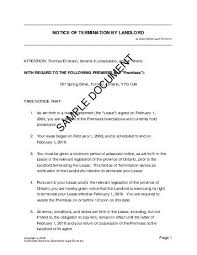 sample letters of termination notice of termination by landlord canada legal templates