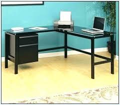 corner computer desk glass l shaped with drawers black saracina home