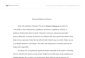 definition of honesty a level english marked by teachers com document image preview