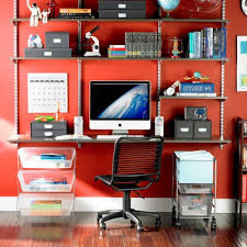 shelving for home office. black shelving look great on a colorful wall for home office s
