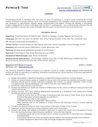 Sharepoint Developer Resume Extraordinary Patricia Todd SharePoint Resume