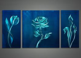 elegance mysterious look metal three panel beautiful rose wih thorn tulip painting shining contemporary vignette blue on metal paintings wall art with wall art beautiful pictures of blue wall art blue wall decorations