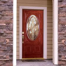 fiberglass entry door with oval glassfeather river doors 375 in x 81625 in silverdale brass 34