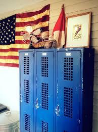 vintage blue metal lockers for kids room storage