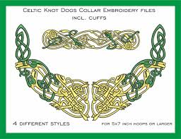 Celtic Knot Embroidery Designs Collar Embroidery Files Set With Celtic Knot Dogs 5x7 Incl