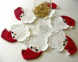 <3 these; Father Christmas Crochet Coasters