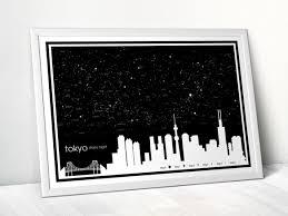 夏の星空と東京 A3アートポスターおしゃれインテリア雑貨モノクロモノトーン夏