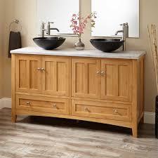 Bamboo Bathroom Cabinets 60 Evelyn Bamboo Double Vessel Sink Vanity Bathroom