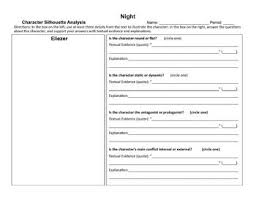 Night By Elie Wiesel Character Chart Night By Elie Wiesel Character Analysis Graphic Organizers