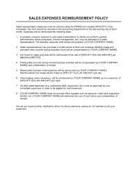 Sample Reimbursement Letters Sales Expenses Reimbursement Policy Template Word Pdf