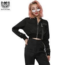 rocksir punk black crop top jacket women casual zipper short cardigan coat fashion buckle long sleeve er jacket bike outwear women leather jacket warm
