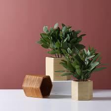 Office Flower Desktop Hexagon Shape Flower Container Office Indoor Succulent Glaze Ceramic Plant Pot