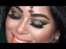 eye makeup videos in hindi unique indian bridal makeup tutorial green and gold glitter eyes