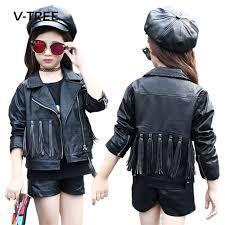 v tree children girls jacket autumn winter girls coat fashion tassel kids tops outerwear teenage girls leather jacket coat