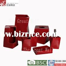 Cute Ceramic Red Bathroom Accessories Set China Bathroom