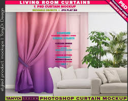 Living Room Curtain Design Beauteous Long Curtain Drapery Sheer On Living Room Window Photoshop Etsy
