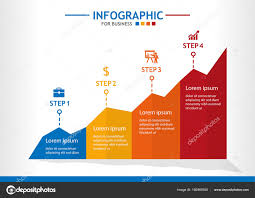 Business Infographic Template Steps Line Chart Diagram Step