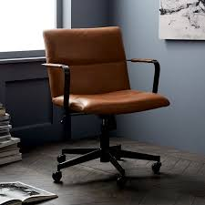 leather office chair. Cooper Mid Century Leather Swivel Office Chair West Elm With Desk Plan 10