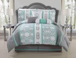 7 Piece Queen Alieli Gray/Mint Comforter Set