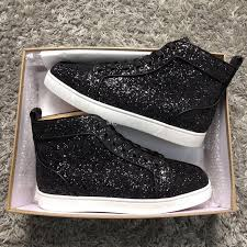Glitter Bottom Shoes Designer Luxury Designer Black Glitter Leather Sneakers Shoes For Women Men Red Bottom Shoes Elegant Walking Party Wedding Eu35 46 With Box