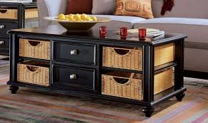 Black Coffee Table With Storage Drawers
