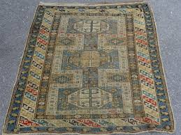 pre 1900 caucasian kuba shirvan rug light blue