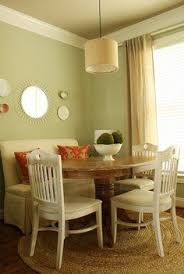 upholstered bench and round table with cute chairs this is perfect want want want