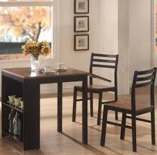 charming drop leaf small dining table with storage and 2 chairs