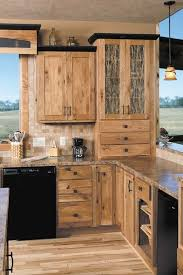 Hickory Cabinets Rustic Kitchen Design Ideas Wood Flooring Pendant Lights O52
