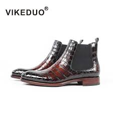 <b>VIKEDUO</b> 100% Genuine Crocodile Leather Ankle Boots For Men ...