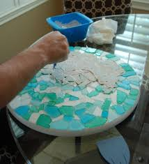 unique diy mosaic sea glass table top ul48