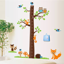 Squirrel Owl Tree Height Measure Wall Stickers Cartoon Character Kids Room Wall Decal Baby Bedroom Growth Chart Wall Stikers In Wall Stickers From