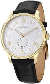 men gold watches alexander statesman regalia men s black gold watches for men alexander