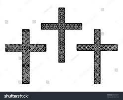 Cross Designs Set Religious Cross Designs Vector Illustration Stock Vector