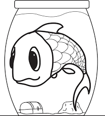 Small Picture Free Printable Cartoon Fish in a Fishbowl Coloring Page for Kids