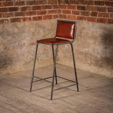 vintage brown leather bar stools