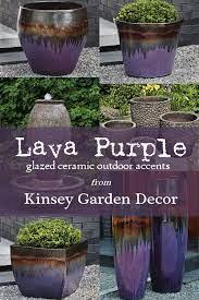 purple glazed ceramic outdoor planter
