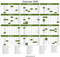 2020 Calendar Printable 2020 Calendar