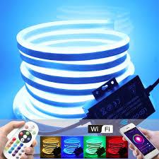 220V 110V RGB Đèn Neon Wifi 1500W Điều Khiển 5050 Dẻo LED Neon Ký Đèn Ngủ  Đèn Trắng/Ấm 2835 Dây Đèn LED|Dải Đèn LED