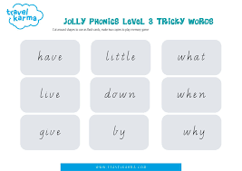 Pages can write simple two or three letter words by listening for the sounds. Jolly Phonics Tricky Words Group 3 Printable Flashcards Travel Karma