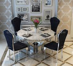 marble top stainless steel white marble round dining table