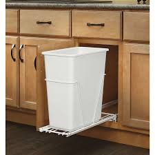 Pull Out Trash Can Single White Polymer Waste Container