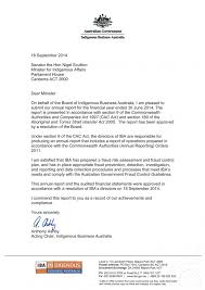 Letter Report Letter Of Transmittal Indigenous Business Australia Annual Report