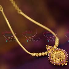 gold plated south indian traditional design beads chain