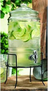 durable ribbed glass beverage dispenser with spigot on stand 1 5 gallons home