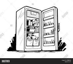 refrigerator clipart black and white. Perfect Black Open Fridge  Retro Clip Art Stock Vector U0026 Photos  Bigstock With Refrigerator Clipart Black And White N